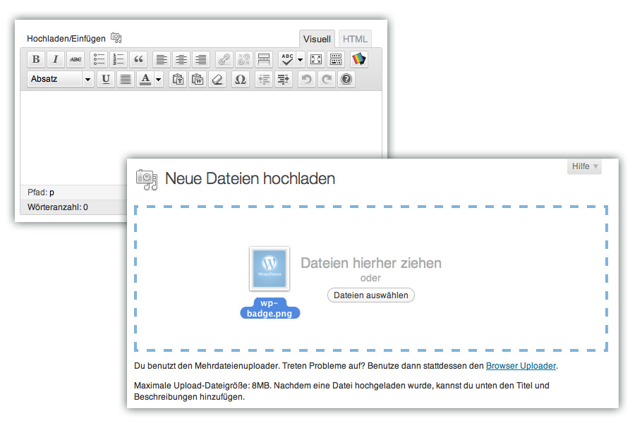 Editor mit 1 Upload-Icon und neuer Media Uploader