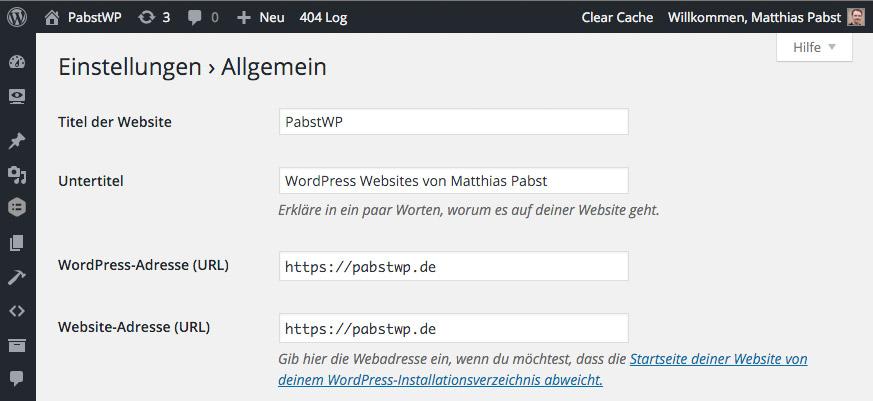 WordPress Einstellungen Allgemein - URLs mit HTTPS