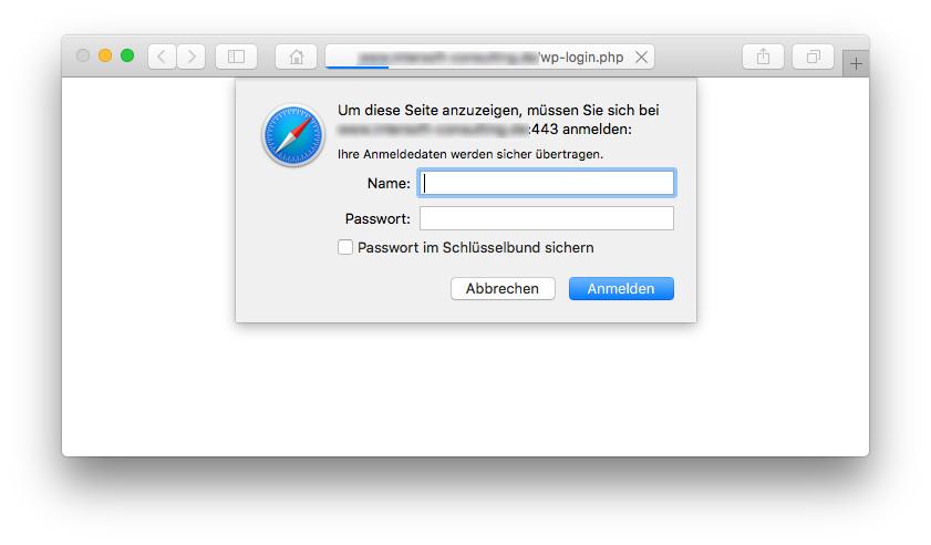 WordPress-Login mit HTTP Authentifizierung im Browser Safari