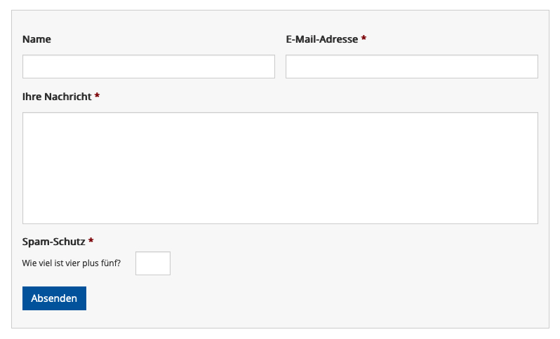 Formular mit Antispam-Feld